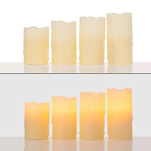 4er LED Echtwachskerzen mit Timer und Fernbedieung - 4 oder 6 Stunden Timerfunktion - Weiß, Elfenbein, Beige, Creme (Creme)