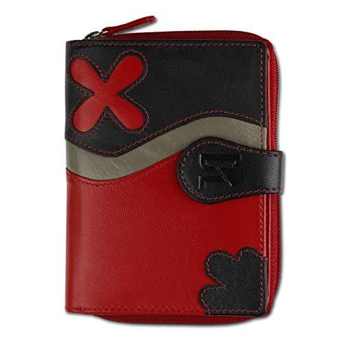 DrachenLeder Geldbörse Brieftasche rot-schwarz Leder Portemonnaie OPS101R
