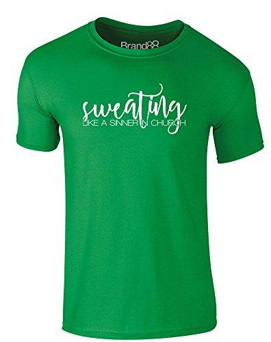 Brand88 - Sweating Like a Sinner in Church, Erwachsene Gedrucktes T-Shirt Grün/Weiß