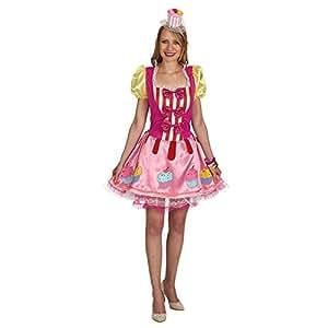 s es cupcake girl kost m kleid damen f r party und karneval pink 44 46 spielzeug. Black Bedroom Furniture Sets. Home Design Ideas