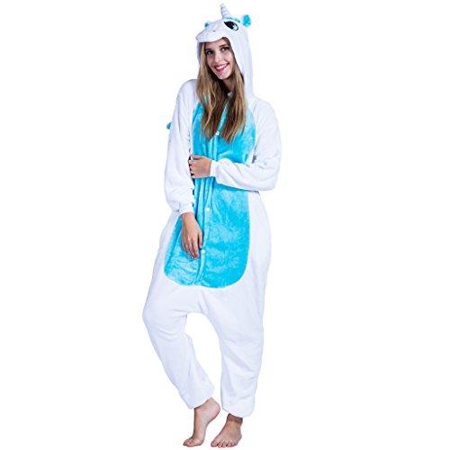 EraSpooky Unisexe Adulte Flanelle Animal Pyjamas Licorne Bleue Cosplay Kigurumi