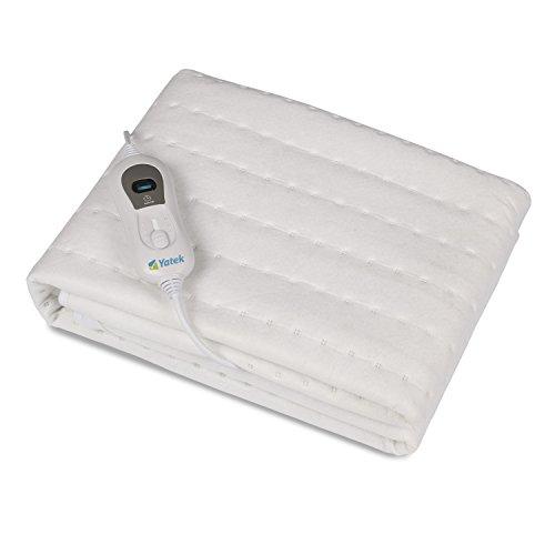 Wärmeunterbett Individuelle Yatek waschbar mit flauschig, Heizdecke für Betten mit 150 x 80 cm und 60 W Leistung und weiß