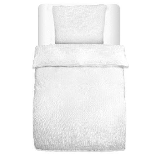 Beautissu Seersucker Bettwäsche Jette 2er Set Bettbezug 135x200 cm und Kopfkissenbezug 80x80 cm Uni Weiß Oeko-Tex - Weitere Farben & Größen wählbar
