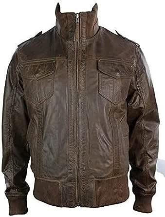 Aviatrix Mens Real Leather Bomber Jacket High Neck Vintage Retro Look Brown