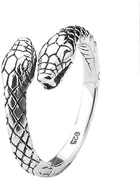 Unisex-Ring aus 925 Sterling Silver Retro Zweiköpfige Schlange Silber für Herren und Damen, AnaZoz Schmuck