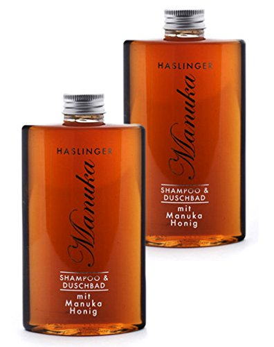 Duschgel & Shampoo Manuka Honig, Duschbad mit echtem Manuka Bienenhonig im 2er Set (2x 200 ml)