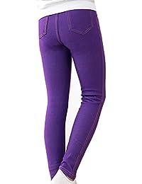 Niña Pantalones De Lápiz Vaquero De Imitación Leggins Color Sólido Cintura Elástica Jeggings Leggings Morado 120CM
