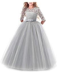 47bd742d0 IWEMEK Vestidos de Princesa Fiesta de la Boda de Las Niñas 3 4 Largo Manga
