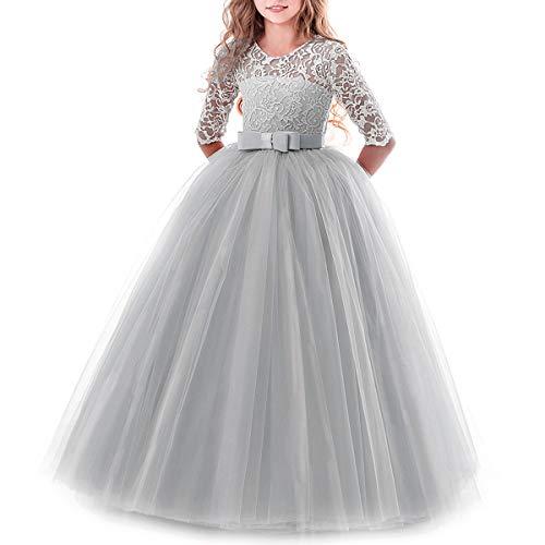 IBTOM CASTLE Brautjungfer Kleider für Mädchen Blumenmädchen Hochzeitskleid Lange Ärmel...