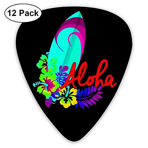 Aloha Hawaiian Surfboard 351 Shape Classic Picks 12 Pack For Electric Guitar Acoustic Mandolin Bass