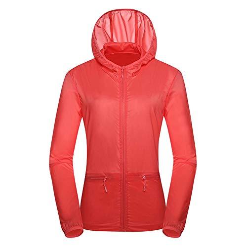 Haloku Sonnenschutz Windjacke, UV Schutz Jacke, Ultraleicht Atmungsaktiv Jacke mit Kapuze für Neu Damen Wandern Radfahren Outdoor Sommer - Rot, 3XL Women