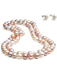 Rolicia AA Grade 8-9mm 65Inches 165cm Collier de perles de culture d'eau douce Matching Stud Earring Set dans une boîte cadeau