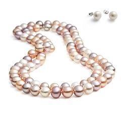 Idea Regalo - Rolicia AA grado 8-9mm 65Inches 165cm d'acqua dolce coltivato multicolore collana di perle che corrispondono orecchino della vite prigioniera impostata nel contenitore di regalo
