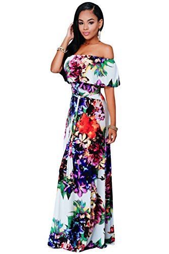 Multicolore Stampa Floreale Senza spalline Maxi Dress Vestito estivo party