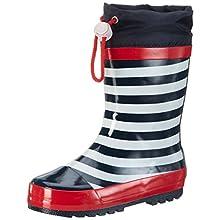 Playshoes Unisex Kid's Rain Boot Wellies Maritime Wellington Rubber, Blue Navy White, 4 UK Child 20/21 EU