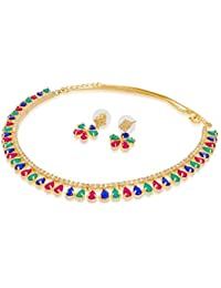 AD Gold Plated American Diamonds And Multicolour Stone Choker Necklace With Earrings