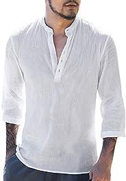 Gemijacka Hemd heren linnen hemd heren vrijetijdshemd Henley 3/4 mouwlengte regular fit kraagloos shirt