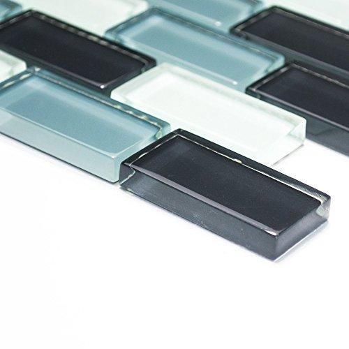 azulejos mosaico mosaico azulejos baño cocina Crystal cristal Mix gris cenefa 8mm Nuevo # 072