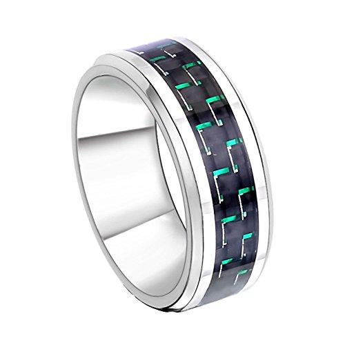 Daesar Punk Titan Ringe für Herren Grün Kohlefaser Gothic Ring Silber Partnerring Gr.62 (19.7) (Grün Titan Kohlefaser Ring)