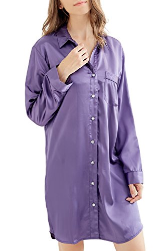 Women's Nightshirt, Satin Nightdress Long Sleeve Sleep for sale  Delivered anywhere in UK