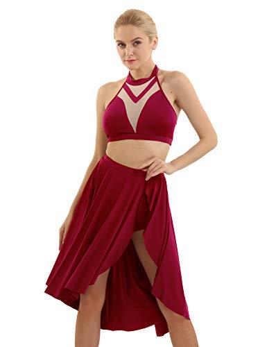 Freebily Damen Latein Kleid Rückenfrei Tanzkleid Ballett Tanz Kostüm Neckholder Crop Top Asymmetrischer Rock mit Shorts Dancewear Rot Medium