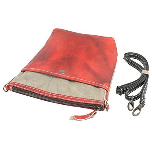 NiSeng Sac à bandoulière en toile et similicuir sac de voyage mini ipad pour femme Gros rouge