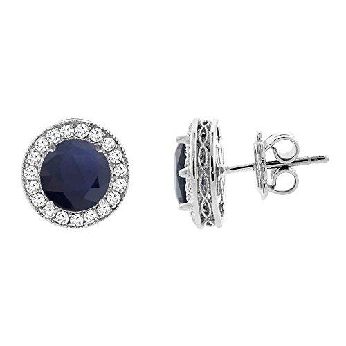 14ct de oro blanco de HQ naturales de color zafiro azul con Halo de diamantes y pendientes con acento, 0,48 cm de ancho