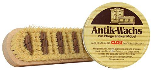 Clou Antik Wachs Polierset, Polierbürste und 375 ml Antikwachs für Möbel