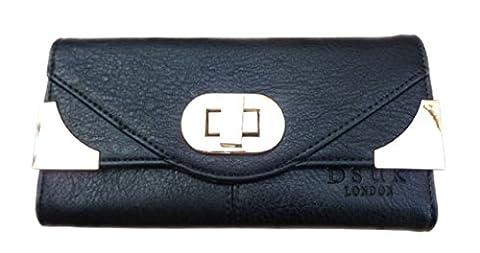 Girly HandBags Faux Leather Gold Corners Purse Turn Twist Lock Designer Fashion Elegant Wallet --