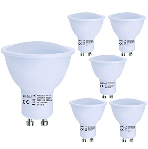 LED FACTORY 5W 400lm MR16 GU10 LED Lampen, Ersatz für 50W Halogenlampen, Warmweiß, 2800K, 100° Abstrahlwinkel, LED Birne, LED Leuchtmittel, 5er Pack