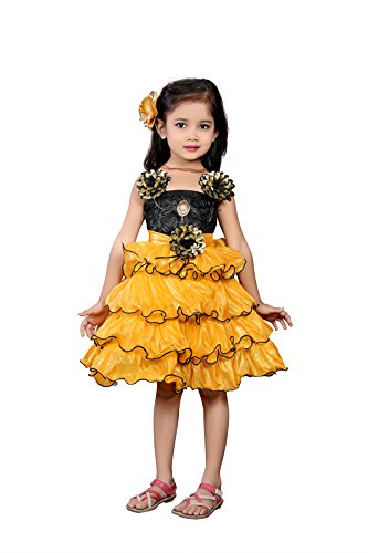 White World Kids Party Wear Yellow Color Silk Full Stitched Dress for...