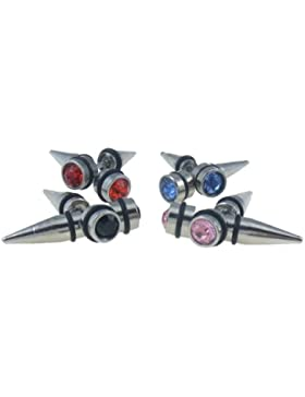 Ohrringe aus Edelstahl mit Kristall und Gummi Farbe weiß