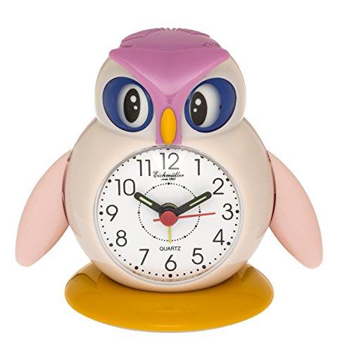 Eichmüller Kinderwecker Eule Analog Wecker mit Alarm Snooze Licht (Rosa) 9848-02