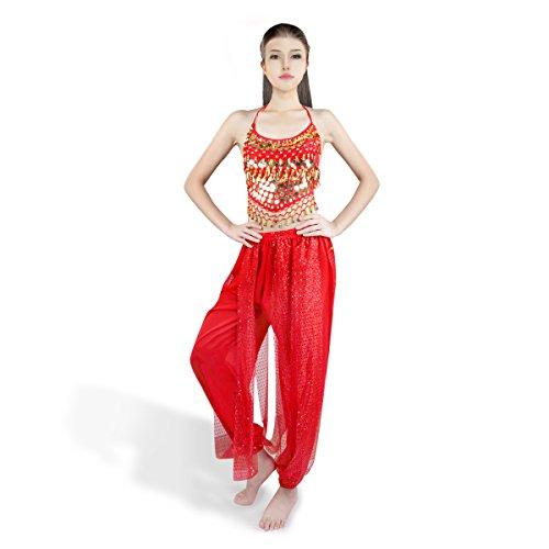 SymbolLife Bauchtanz kostüm damen indischen Tanzkleidung Tanzkostüme belly Dance Halloween Karneval Kostüme Darbietungen Kleidung Rot