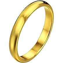 JewelryWe coppia 6 millimetri Lui & Lei 3 millimetri di alta Acciaio inossidabile lucidato Dome goldtone matrimonio fidanzamento / Anniversario Anelli (donna) - Oro Signore Dome