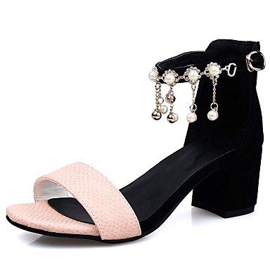 LvYuan Femme Sandales Similicuir Polyuréthane Eté Automne Marche Imitation Perle Gros Talon Blanc Noir Rose 5 à 7 cm blushing pink