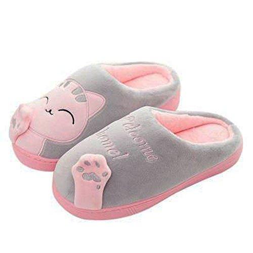GESIMEI Kuschelige Katze Pantoffeln Warm Plüsch Hausschuhe Winter Bequeme Rutschfeste Slippers Herren Damen, Grau, 39/40 EU (Herstellergröße: 40-41)
