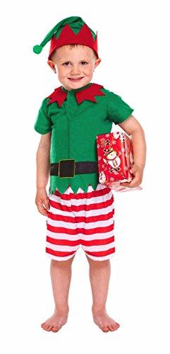 SANTA`S LITTLE HELPER Kids Toddler Elf Fancy Dress Costume Christmas Santa Xmas by Lizzy® (Santa`s Little Helper - Boy, Toddler 2-3 - Little Christmas Elf Kostüm