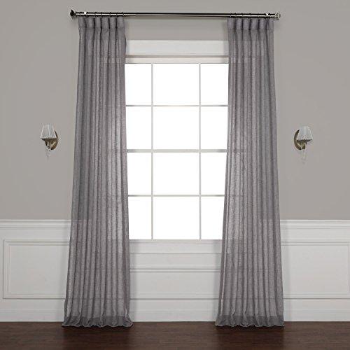 HPD SHCH-SS071617-96 Vorhang, Leinen, durchscheinend, 50 x 96, Kiesgrau (Leinen 96 Vorhänge)