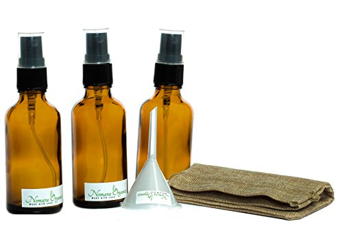 5pcs Premium Spray Botellas de cristal ámbar 50 ml por nomara Organics. Incluye:...