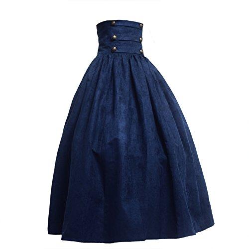 BLESSUME Gótico Lolita Steampunk Alto Cintura Para caminar Falda (Azul, XL)