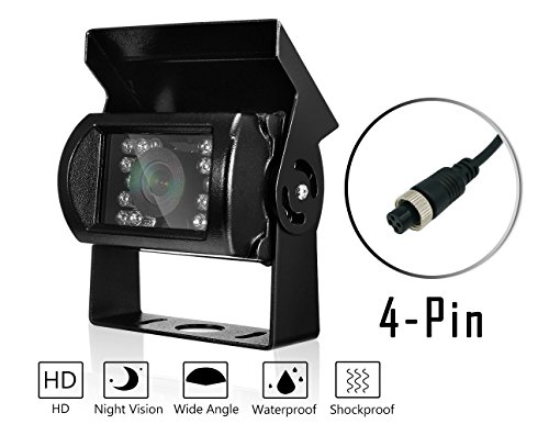 Nachtsicht Rückfahrkamera, DAFROH 120 Sichtwinkel Wasserdicht Universal-Kamera Einparkhilfe HD Farb Rückfahrkamera für Auto Lkw Bus Usw. (Rückfahrkamera Mit 4-Pin Aviation)