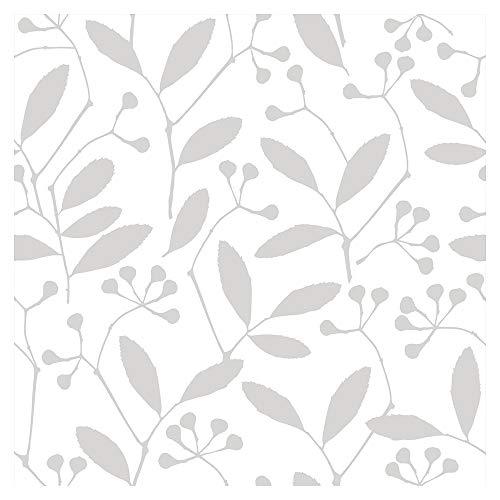 murando - Tapete selbstklebend 10m Wandtattoo dekorative Möbelfolie Dekorfolie Fotofolie Panel Wandaufkleber Wandposter Wandsticker - Blumen Pflanzenmotiv grau weiß b-B-0286-j-a - Blume-panel