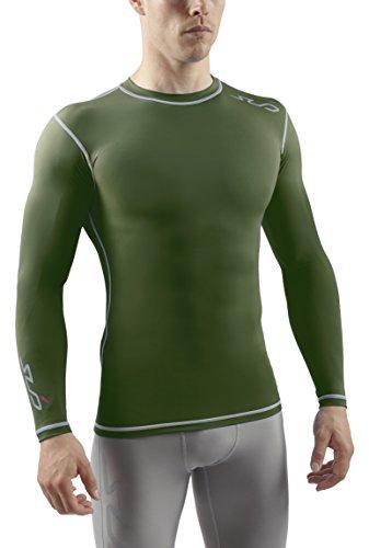 Sub Sports Herren Dual Kompressionsshirt Funktionswäsche Base Layer Langarm, Grün, XL -