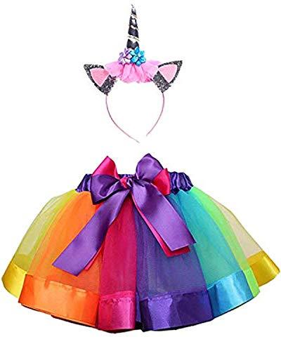 Yigoo Einhorn Mädchen Regenbogen TüTü Rock Tüll Kostüm Prinzessin Karneval Kosplay Party Verkleidung Outfits mit Haarreif - Regenbogen Prinzessin Kind Kostüm