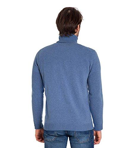 Wool Overs Pull col roulé homme en laine d'agneau Cambridge Blue