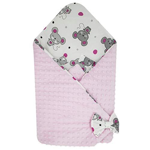 Blueberryshop coperta di pile minky per avvolgere il bambino in macchina| sacco a pelo double face per neonati | destinato per i bambini da 0 a 3 mesi | 78 x 78 cm | rosa