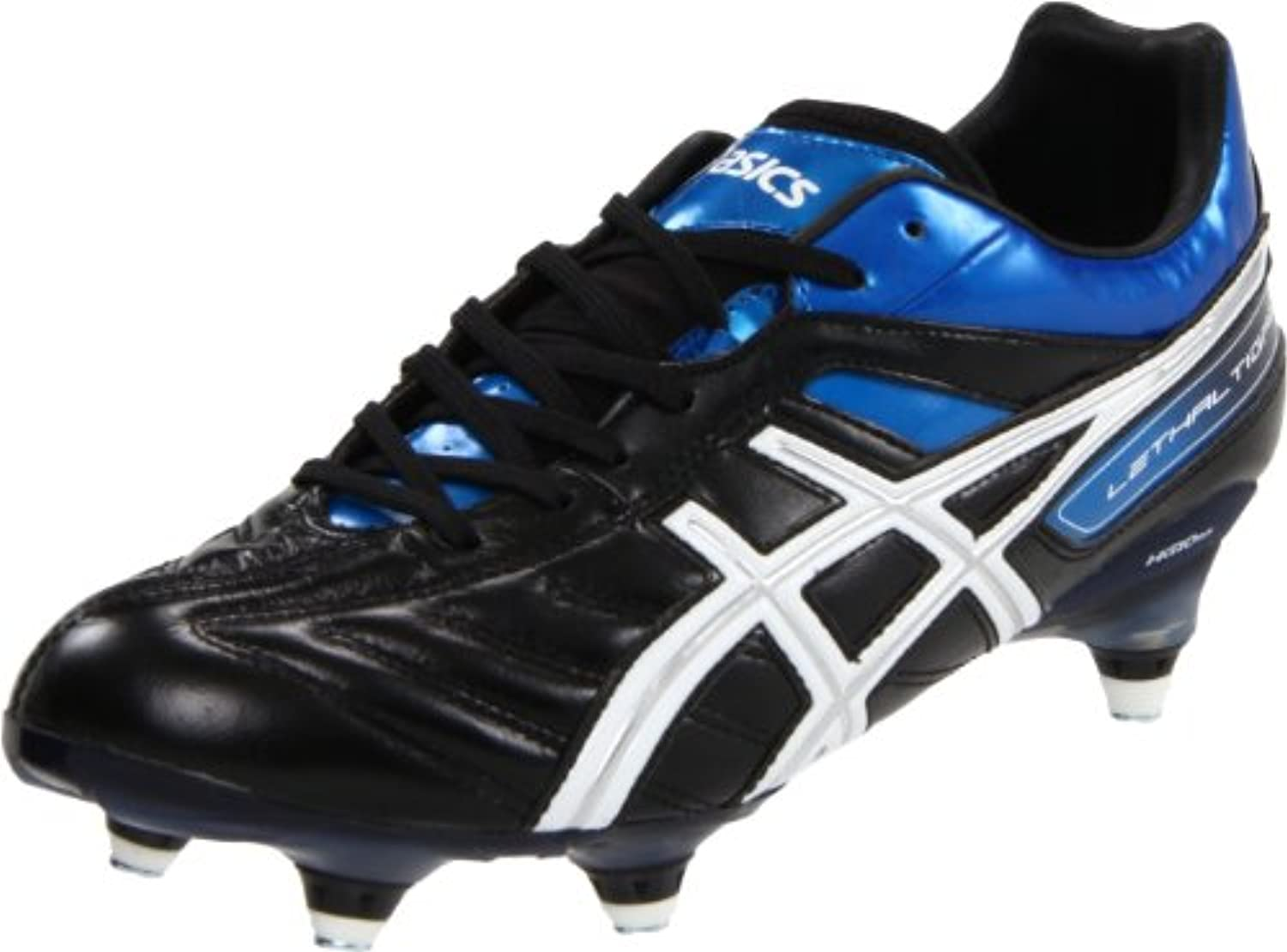 ASICS Men's Lethal Tigreor 4 ST Soccer Shoe Black/White/Pacific Blue 13 M US