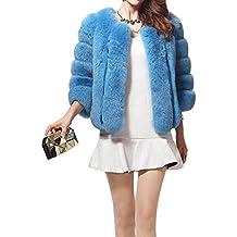 LaoZan Mujeres Chaqueta Abrigo de Piel Artificial Corto Elegante encantador y Cálido para Invierno - Azul - Small