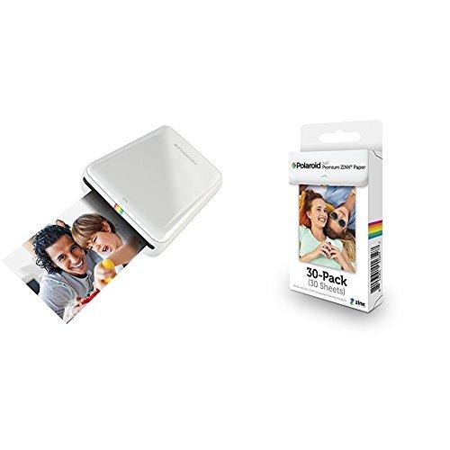 Polaroid ZIP + Pack de 30 Zink Paper - Impresora móvil (Bluetooth, NFC, micro USB, tecnología ZINK Zero Ink, 5 x 7.6 cm, compatible con iOS y Android), color blanco